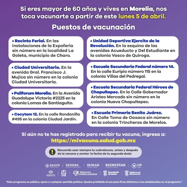 Mañana se reanuda vacunación contra COVID-19 en Morelia a adultos mayores