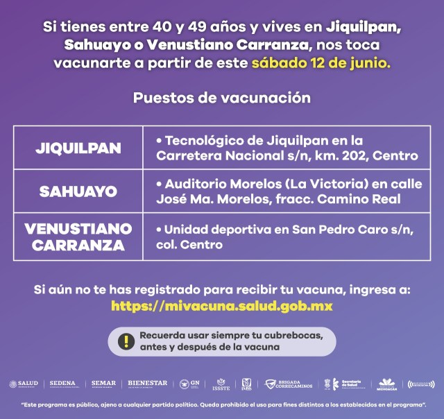 Este fin de semana, vacunación contra COVID-19 en Jiquilpan, Sahuayo y Venustiano Carranza