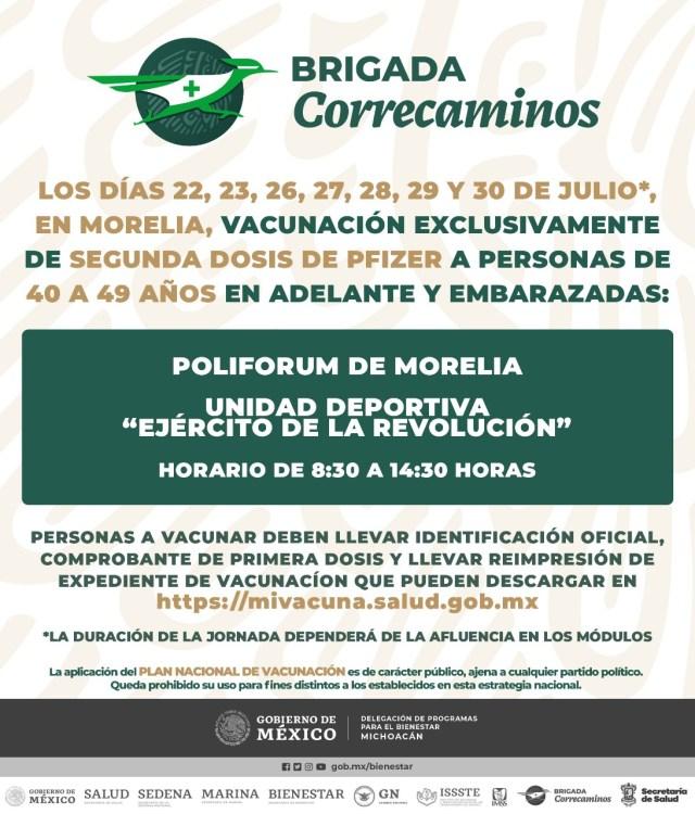 Este jueves inicia vacunación de segunda dosis de Pfizer en Morelia