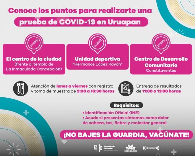 En Uruapan, 5 de cada 10 pruebas de COVID-19 son positivas