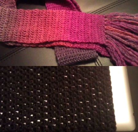 Crochet scarf and iPad cover
