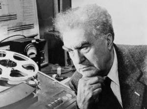 ca. 1955-1965, USA --- Edgard Varese auditing poeme electronique. --- Image by © Bettmann/CORBIS