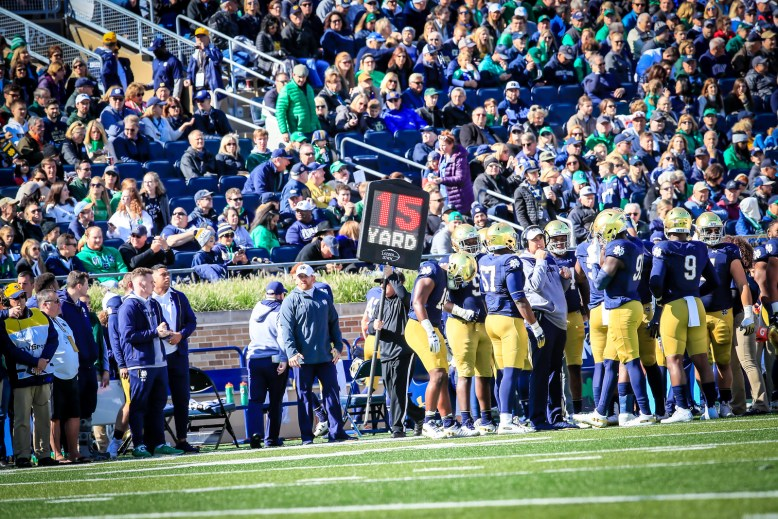 Lazser Down, sidelines, distance marker, down maker, laser down, football, notre dame, notre dame football, irish,fighting irish