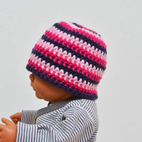 Babymuts-pink stripes