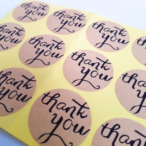 Kraft stickers Thank you