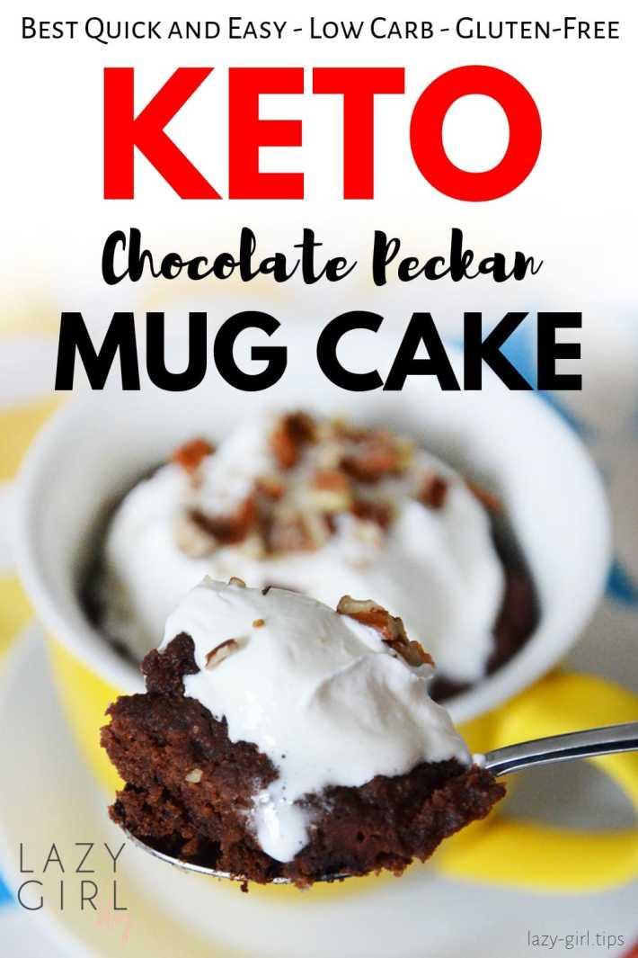 Easy Keto Chocolate Pecan Mug Cake For Two - Low Carb - Gluten Free