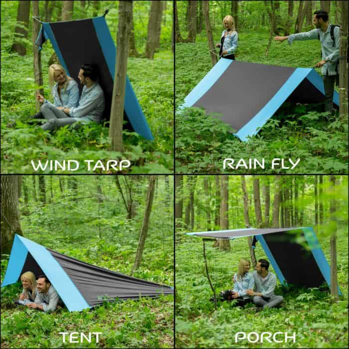 4in1 Double Camping Hammock With Straps Style with many uses- Wind Tarp, Rain Fly, Tent and Porch
