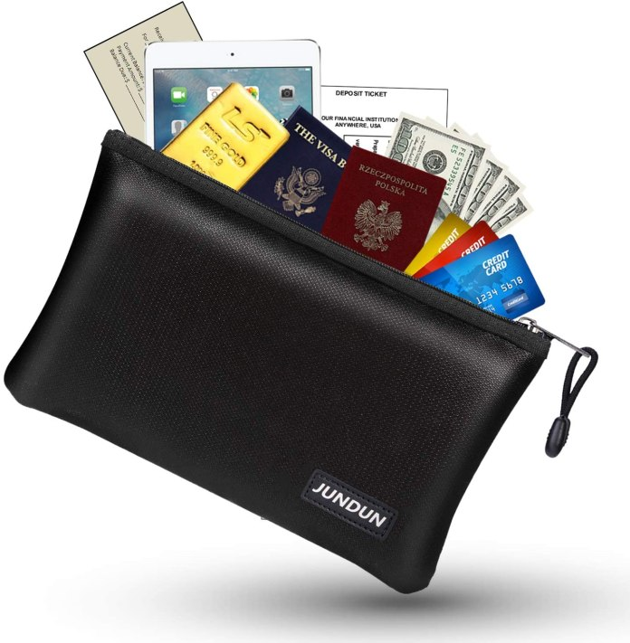 Fireproof and Waterproof Cash Bag with Zipper Closure