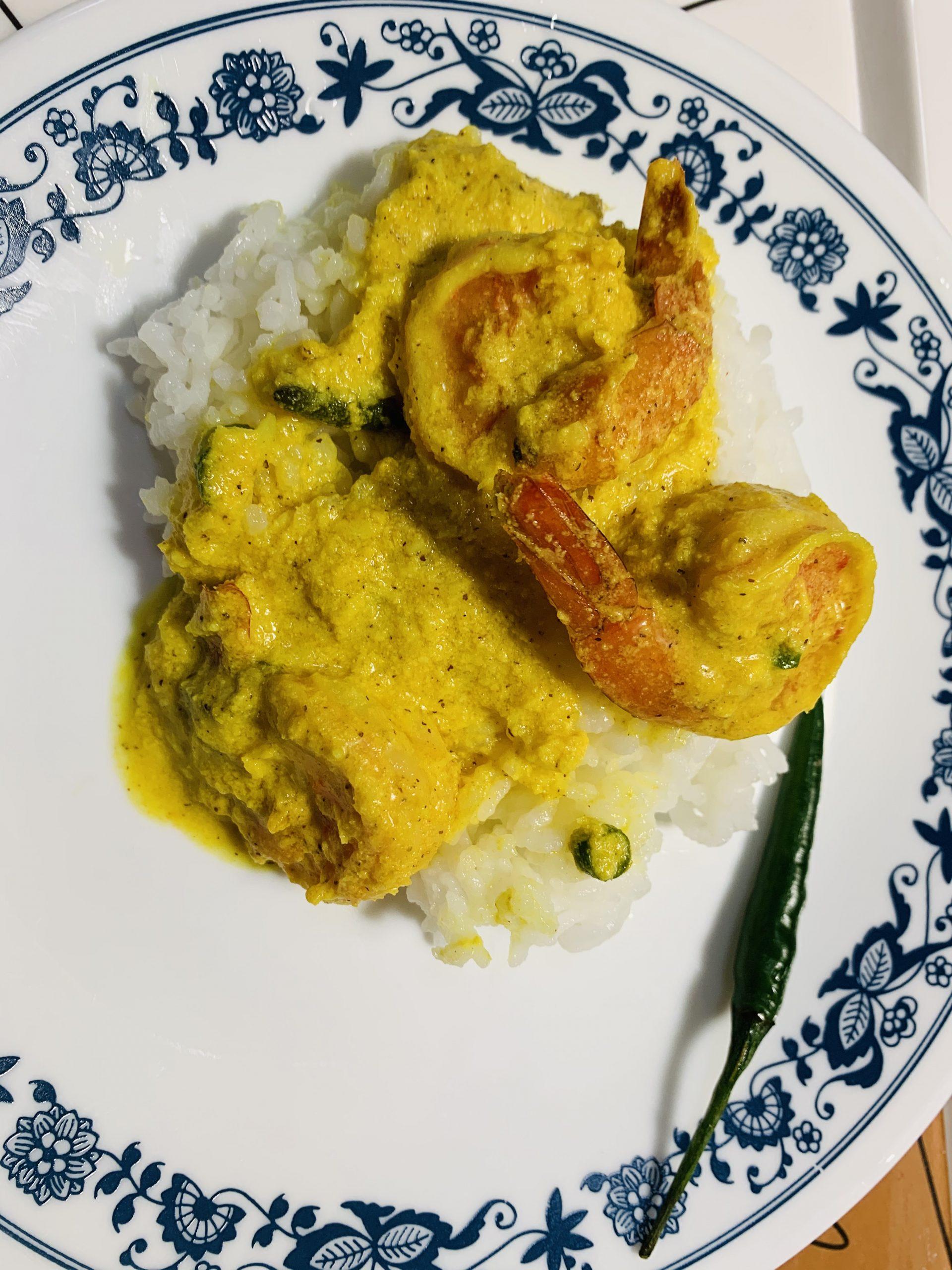 Steamed Shrimp in Yogurt-Mustard Sauce (Bhapa Chingri)