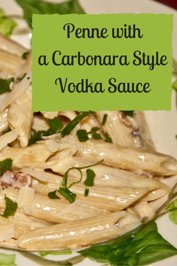 Penne with a Carbonara Style Vodka Sauce