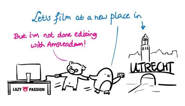 filming in Utrecht Lazy Penguin