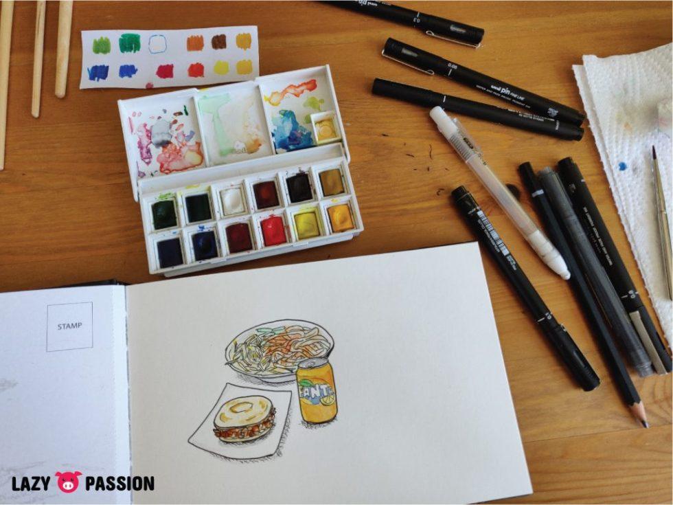 Cate dak liang pi, rou jia mo, fanta drawing