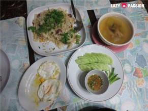 friedrice, egg, soup, cucumber