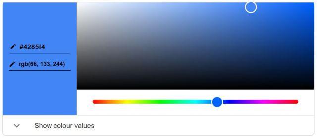 Decimal and Hexadecimal colour codes representation