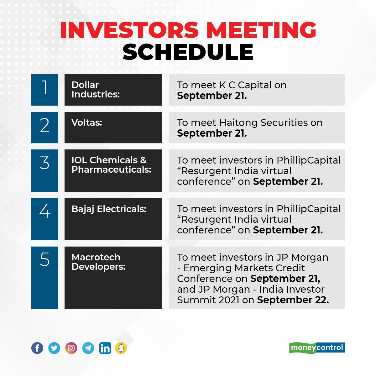 Investors Meeting Schedule: