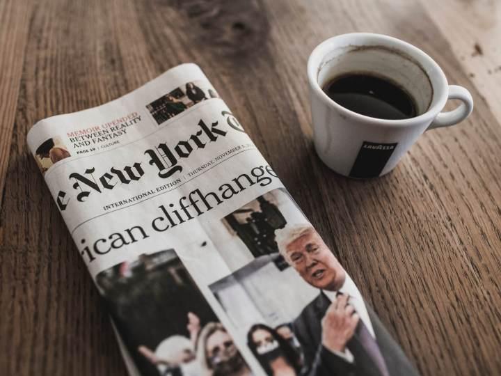 New York Times et café avec Trump en une