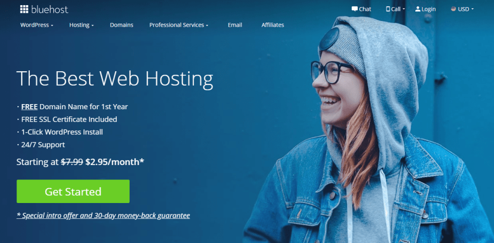 Bluehost landing page - the best web hosting provider