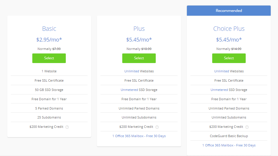 choose your Bluehost plans with my bonus offer