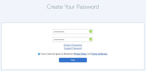 Create a Bluehost password for your account