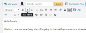 WordPress editor italic function