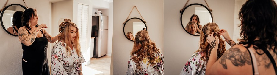 Bride getting her hair done in preperation for Honeymoon Island Wedding by Wedding photographer in Tampa