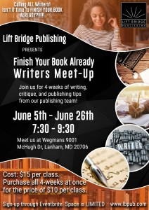 Join our Writers Meet-Up June 5th-June 26th @7:30 PM.