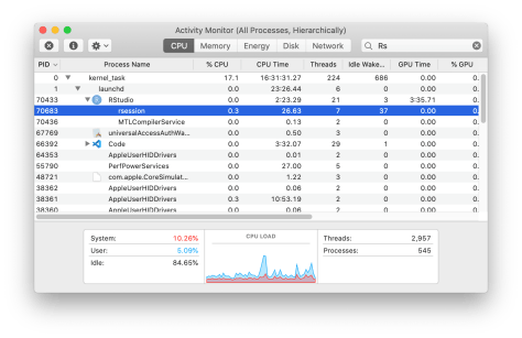 macOS activity monitor showing currently running processes in a hierarchy. The rsession process is highlighted.