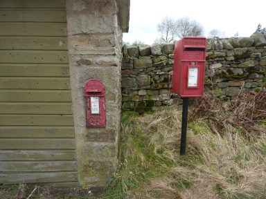 GR lamp box, 1930s, with E2R lamp box in wall, 2000s, Northern England. Andrew R Young