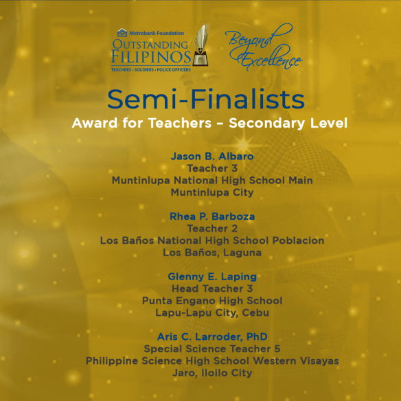 Road to finals. Announced last May 12, Rhea Barboza was one of the 12 semi-finalists who will be competing for the final round in the 2021 Metrobank Foundation Outstanding Filipinos Award for Teachers. Photo from: Metrobank Foundation Outstanding Filipinos' Facebook page.