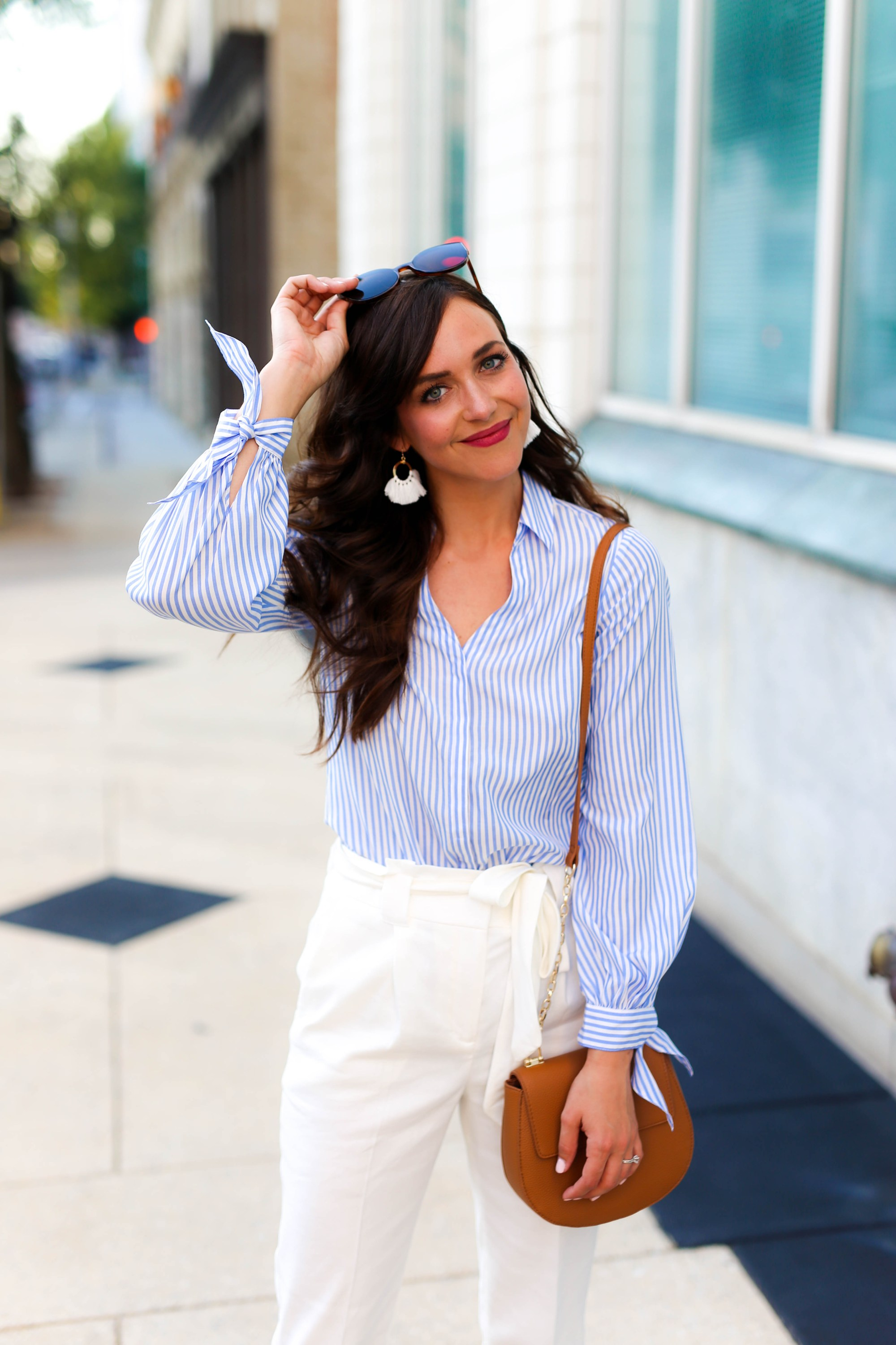 blue and white button up top