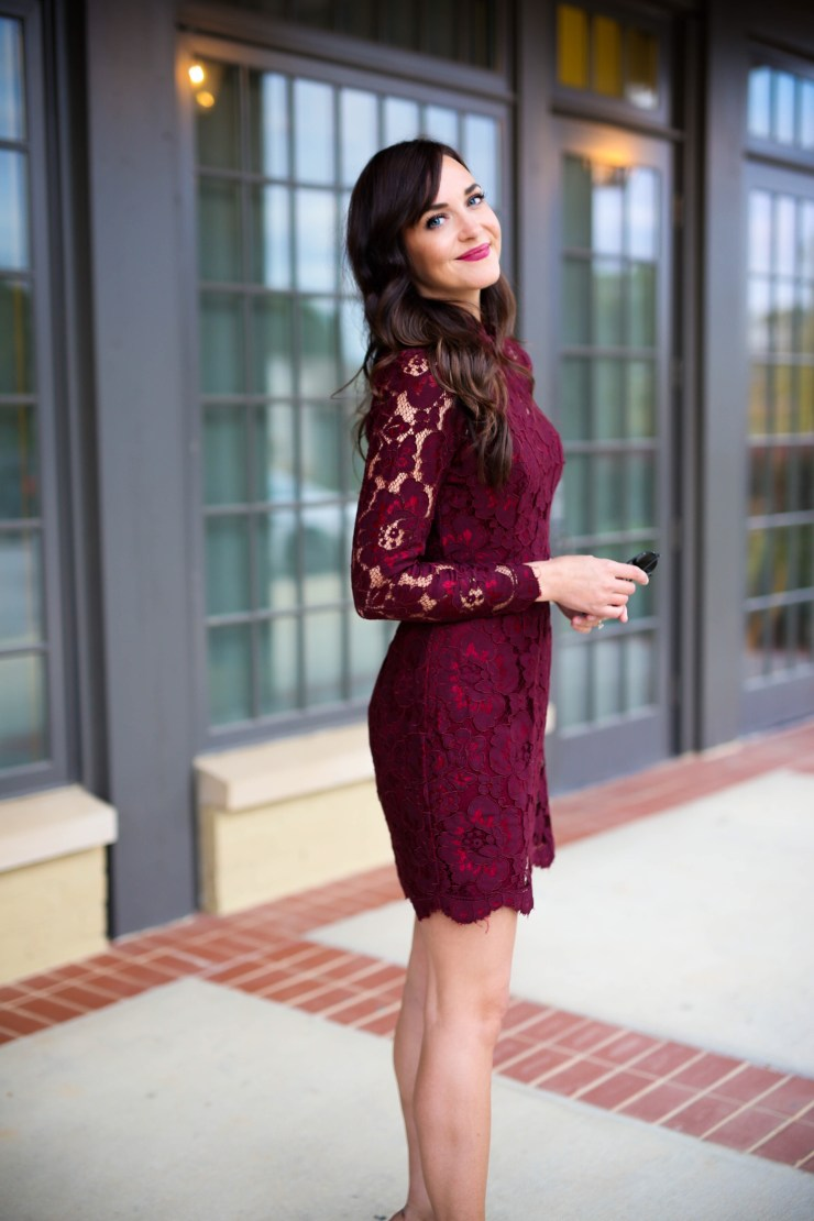burgundy lace dress // southern blogger