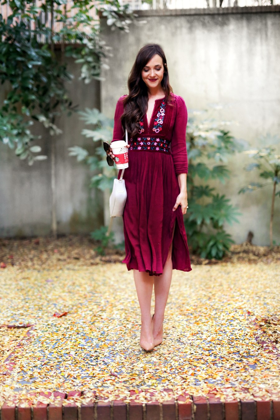 fall dress // christmas card photo dress // burgandy dress