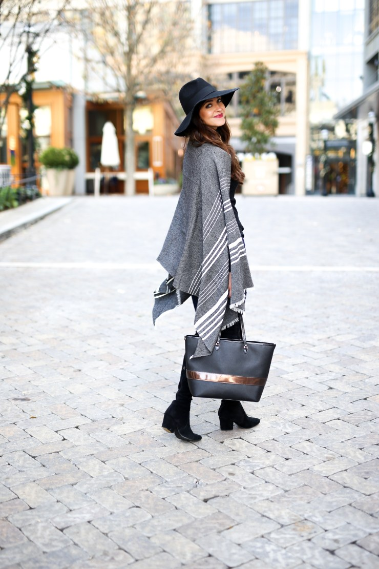 most flattering skinny jeans, Denim Jeans Under $100, inexpensive jeans, cheap jeans, skinny jeans under $100, high waisted skinny jeans, high waisted jeans under $100, J.Crew, J. McLaughlin, Mott and Bow, Mott and Bow jeans, black wide brim hat, gray poncho, winter poncho, black otk boots, over the knee boots, stewart wiseman dupes, fashion blogger, easy winter outfit, winter style, easy winter outfit, black leather bag, winter fashion, winter style, cold weather fashion, cold weather style, southern style, southern fashion, birmingham style, birmingham blogger, southern fashion blog, southern blogger