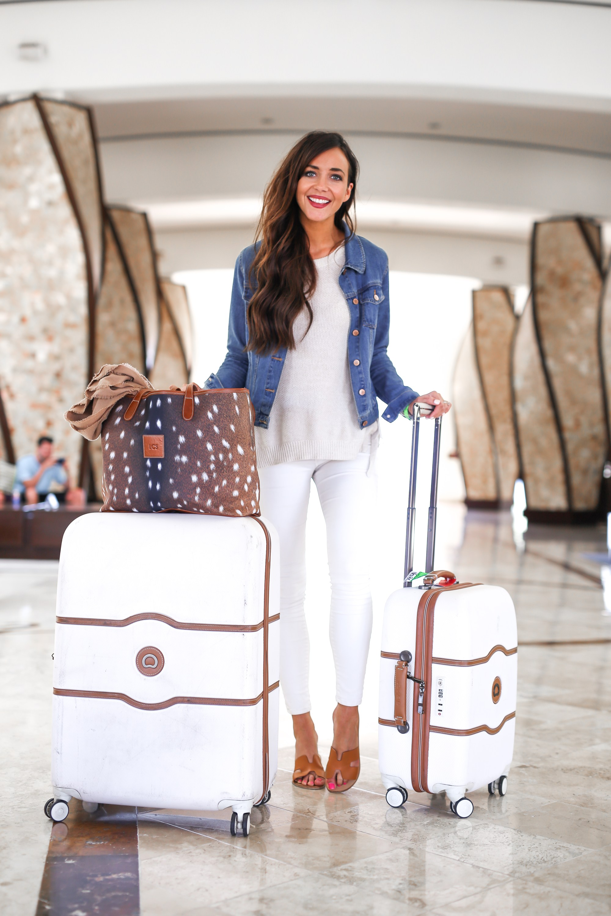 jean jacket white jeans white suitcases