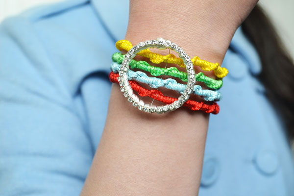 final look of the four strand woven bracelet