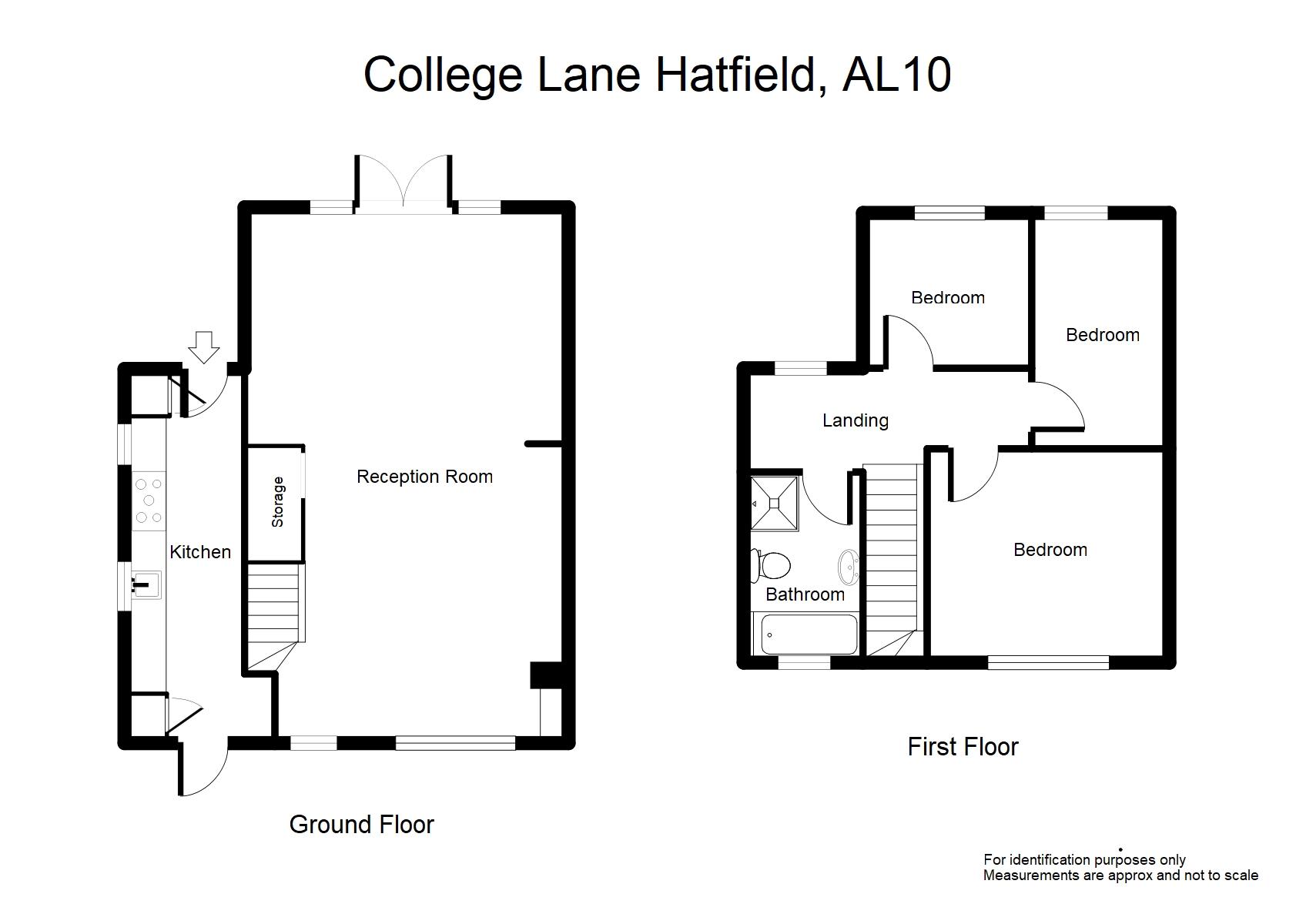 College Lane Hatfield Al10 3 Bedroom End Terrace House
