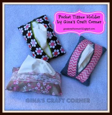 Tissue Holder Tutorial - http://ginascraftcorner.blogspot.com/2013/10/how-to-sew-pocket-tissue-holder.html