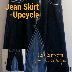 Jean Skirt Upcycle Tutorial - https://lacarteradesigns.com/2016/04/02/jean-skirt-upcycle/