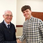 John Stafford (IAgrE branch secretary) congratulating PhD student Raymond Kirk