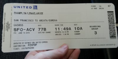 Plane ticket to ACV
