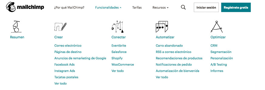 Funcionalidades-mailchimp