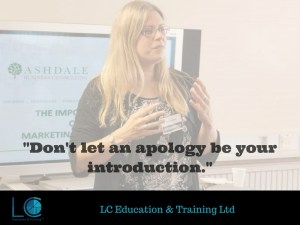 "Image of managing director Lyn Calver with the quote, ""Don't let an apology be your introduction."""