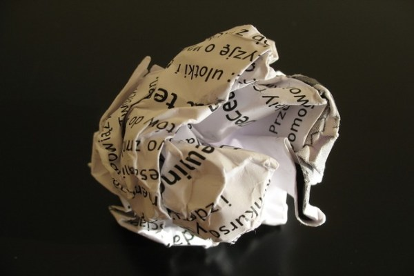 A screwed up ball of paper
