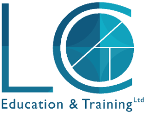 Logo for LC Education & Training with blue L and C