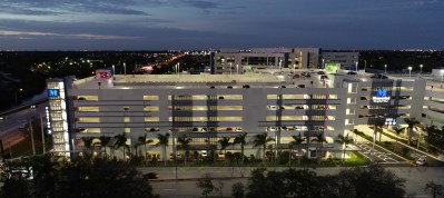 Memorial Hospital parking garage at night