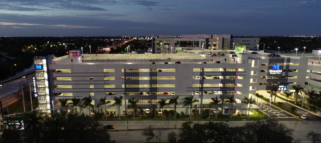 Memorial Hospital parking garage at night