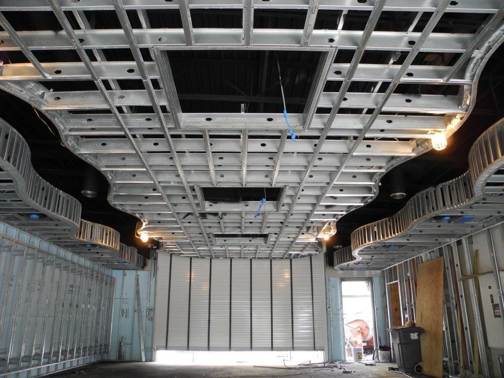 Fisker dealership ceiling half finished product