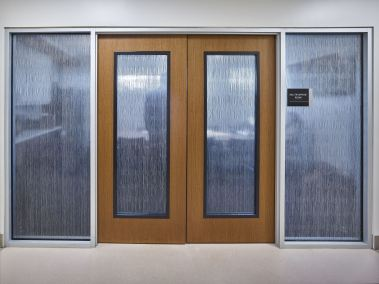Translucent sliding doors in Cypress Creek Medical Pavilion
