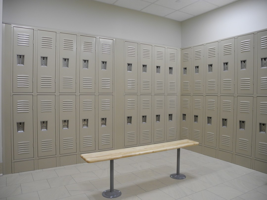 Picture of lockers and bench