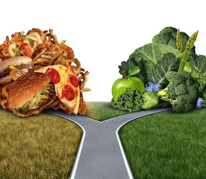 rascruce de drumuri, dilema intre alimentatie sanatoasa si fast food, carbohidrati